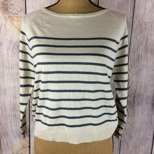 Poof 3/4 Sleeve High Low Striped Sweater Sz S